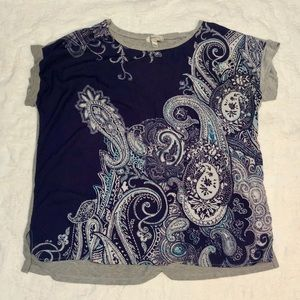 Purple and gray paisley blouse